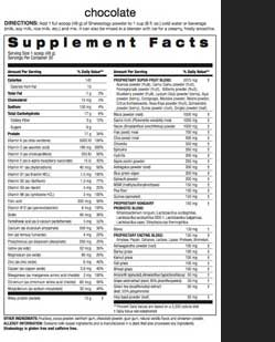 Chocolate Shakeology Nutrition Facts